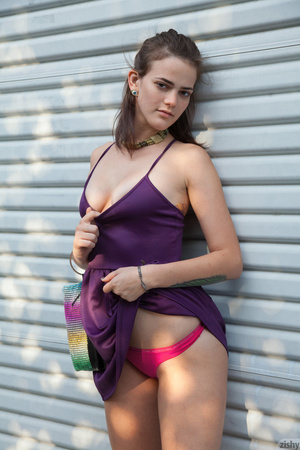 Hot brunette vixen in a purple dress and - XXX Dessert - Picture 6