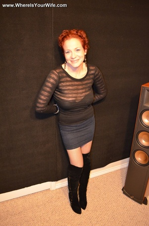 Busty mature redhead in fishnets stockin - XXX Dessert - Picture 1