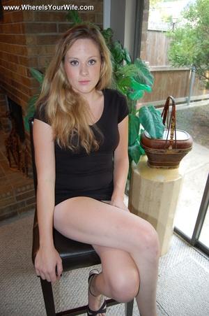 Blonde babe in a black dress shows off h - XXX Dessert - Picture 3