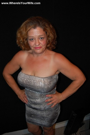 Big-titted curly granny in a silver dres - XXX Dessert - Picture 1