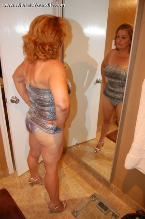 Big-titted curly granny in a silver dres - XXX Dessert - Picture 3