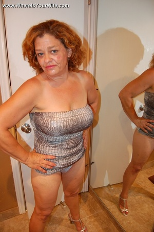 Big-titted curly granny in a silver dres - XXX Dessert - Picture 4