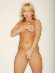 Lusty full bodied blonde in spicy red panties strip nude - Picture 11