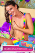 Tattooed slim beauty in rainbow colored sexy dress masturbates with blue