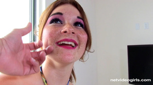 Young babe in multicolored dress masturb - XXX Dessert - Picture 5
