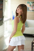 Sweet pretty in lemon top, white skirt and underwear strip nude to show