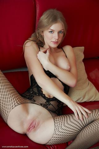 brown-haired lass black fishnets