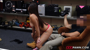 Busty brunette chick in socks gives head - XXX Dessert - Picture 2