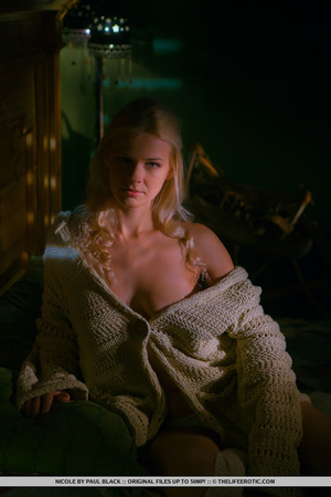 Blonde in a white knit sweater gets nake - XXX Dessert - Picture 1