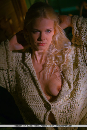 Blonde in a white knit sweater gets nake - XXX Dessert - Picture 3