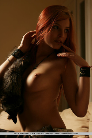 Pierced redhead in a white shirt and fur - XXX Dessert - Picture 7