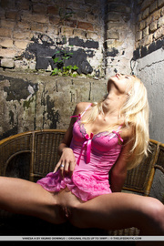 blonde pink lingerie and