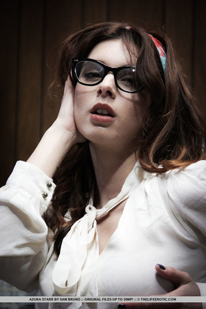 Tattooed girl in glasses and nylons mast - XXX Dessert - Picture 1