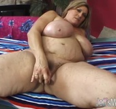 Freckled blonde fat mom in with a shaggy snatch takes cumshot on her huge