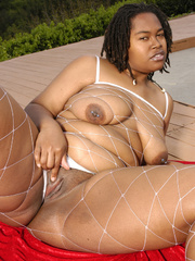 Shadow Cat is a hefty honey posing poolside and fucking - Picture 5