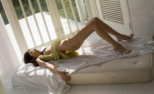 Teen model in a yellow nightie and black lacy undies strips. - XXXonXXX - Pic 12