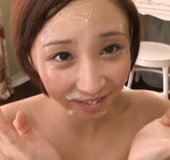 Playful girl in pink lingerie gets her face blasted with cum.