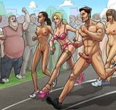 Crazy scene of toon fucking orgy after a nude marathon