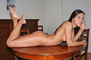 slim brunette girl posing