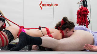 hogtied chick nylons forced