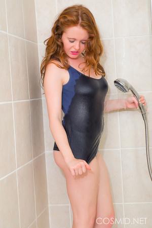 Redhead in the shower takes off blue und - XXX Dessert - Picture 4