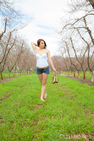 Young tattooed brunette in the orchard   - XXX Dessert - Picture 1
