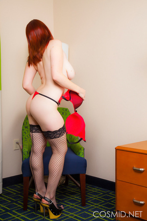 Red bra and panties,fishnet stockings an - XXX Dessert - Picture 9