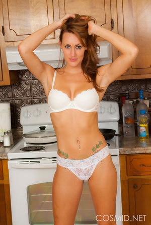 Brunette in her kitchen lets you take a  - XXX Dessert - Picture 9