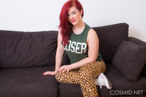 Redhead in leopard print tights  shows o - XXX Dessert - Picture 1