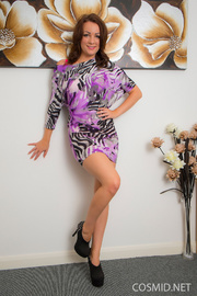 with her floral vestido