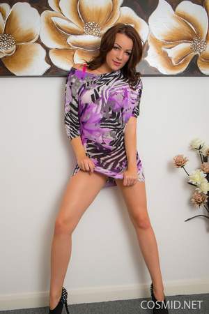 With her floral dress removed, brunette  - XXX Dessert - Picture 2