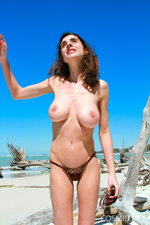 Slender brunette with heavy boobs goes s - XXX Dessert - Picture 6