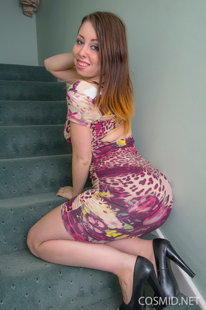 Brunette  strip on the stairs. Removes h - XXX Dessert - Picture 1