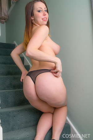 Brunette  strip on the stairs. Removes h - XXX Dessert - Picture 14