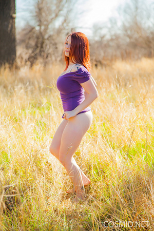Redhead removes purple dress to reveal n - XXX Dessert - Picture 4