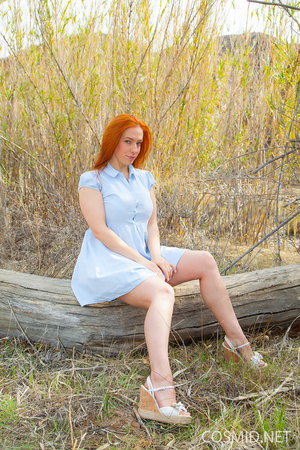 Redhead in the woods unbuttons dress, re - XXX Dessert - Picture 1