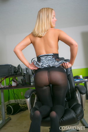 Young blondie on a chair pulls dress dow - XXX Dessert - Picture 6