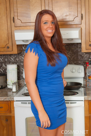 Tanned brunette in the kitchen takes off - XXX Dessert - Picture 2