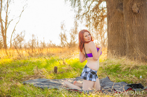 Redhead starts a nice picnic in summer c - XXX Dessert - Picture 6