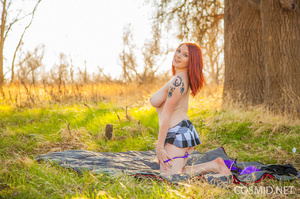 Redhead starts a nice picnic in summer c - XXX Dessert - Picture 11