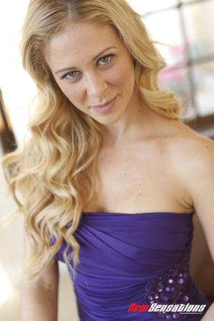 Blond babe takes purple dress  off  so b - XXX Dessert - Picture 1