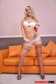 seductive blonde white underwear