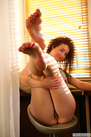 Fun minx in a grey shirt and green panties poses by the window. - XXXonXXX - Pic 12