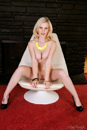 Blonde in zebra print top and yellow necklace unpins and striptease on the couch. - XXXonXXX - Pic 5