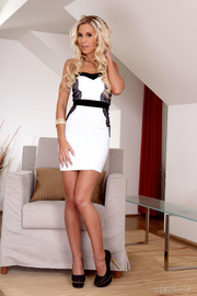 blonde white dress and