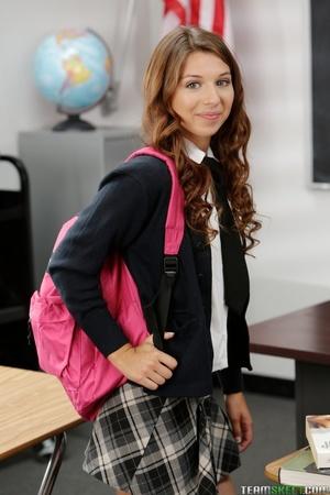 Slutty red teen in school uniform seduce - XXX Dessert - Picture 1