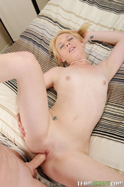 tattooed pigtailed blonde freshie