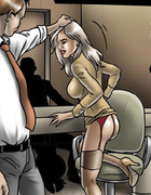 Blonde office hottie in a suit and stockings gets treated by her boss