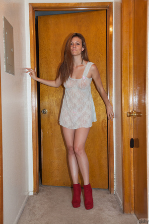Cute brunette posing in a checked dress  - XXX Dessert - Picture 5