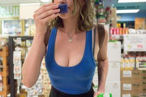 Playful brunette chick in a blue vest an - XXX Dessert - Picture 7